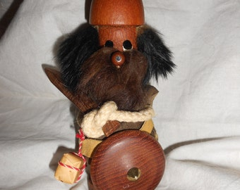 "Danish Viking ""Sveistrup"" Style Teak Wood Viking Figurine"" MCM Scandinavian Design Wooden Collectible Character Figure"