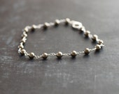 Pyrite and Sterling Silver Wire Bracelet