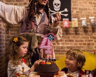 Pirate Boy or Girl Party Custom Cake Topper - Ahoy Matey Collection from Tea Party Designs
