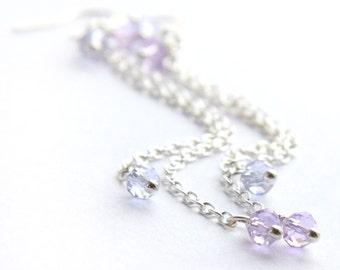 Alexandrite Earrings Two Tone Lavender Purple Facet Crystal Earrings Exquisite Gemstone Earrings Sterling Silver Chain Luxury gift