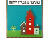 Happy Housewarming -- Neighborhood Scene Handmade Greeting Card (Blank Inside)