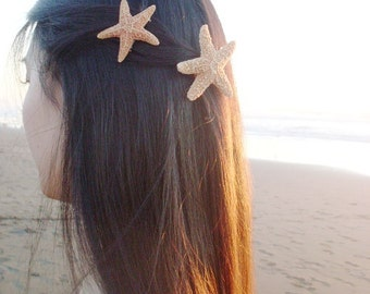 Sugar Starfish Barrettes Mermaid Hair Clips Beachy Nautical Ariel Costume Bridal Bridesmaid Beach Wedding Accessories Womens Gift Summer