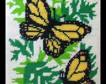Butterfly Needlepoint, Finished & Ready to Frame Needlework, Yellow and Black Butterflies, Monarch Butterfly, Vintage Handmade Wall Art 1977
