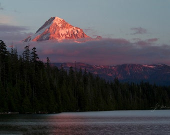 mount hood photograph, oregon photography, fiery mountain peak, lost lake landscape