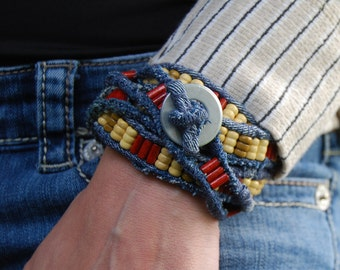 Color Me Fancy: Upcycled, Recycled, Repurposed Blue Jean Belt/Bracelet/Necklace - Denim and Wood with Steel Washer Buckle