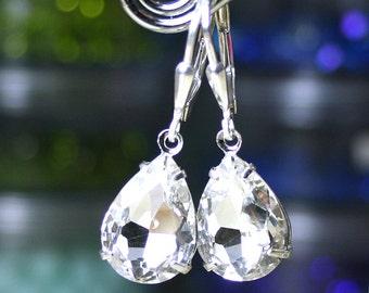 Vintage Jewel Earrings in Clear Crystal - Bridal Earrings - Crystal Teardrop Earrings - Sterling Silver Leverbacks