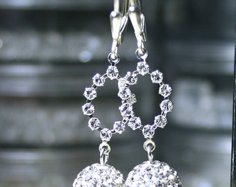 Only Pair - Long Crystal Starlight Earrings - Pave Crystal Ball Earrings - Swarovski Crystal and Sterling Silver Leverbacks