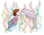 Under the Sea III -- Mermaid Seaweed Nursery Art Print
