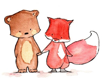 Pals--Fox and Bear--- Nursery Art Illustration Print 8x10