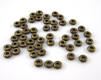50 Tierracast Brass Oxide 4mm Disk Spacers