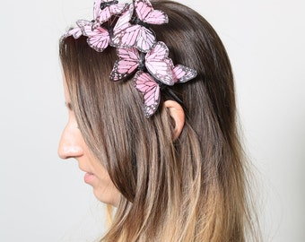 Pastel Pink Butterfly Headband - woodland, fairy tale, bride