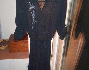 70s CHORUS LINE--Floaty Black Shirtwaist Dress--Iris Print on Bodice--Size 8