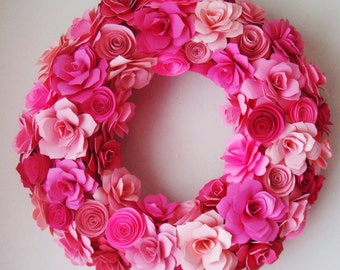 Custom Order Paper Flower Wreath Spring has Sprung  12 to 13 inch wreath In your choice of Colors