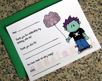 zombie boy fill in thank you notes cute little brains balloon for birthday halloween costume party customizable with envelopes - set of 10