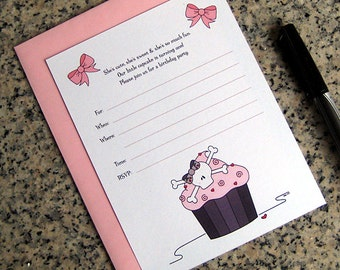 pink skull cupcake invitations lined birthday valentine halloween party with envelopes DIY - set of 10