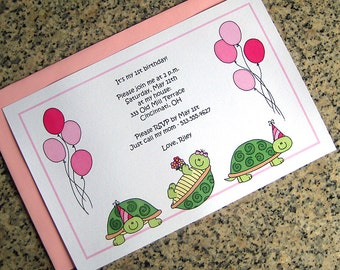 turtle trio for girls with party hats and balloons full sized fully custom birthday invitations with pink envelopes - set of 10