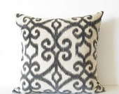 Top Kapi Graphite ikat bark brown cream decorative pillow cover