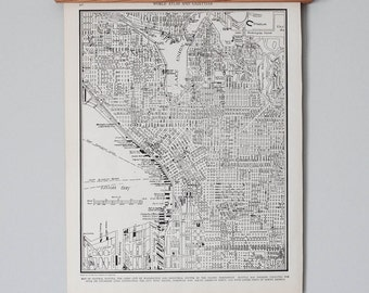 1930s Seattle, Washington Antique City Map