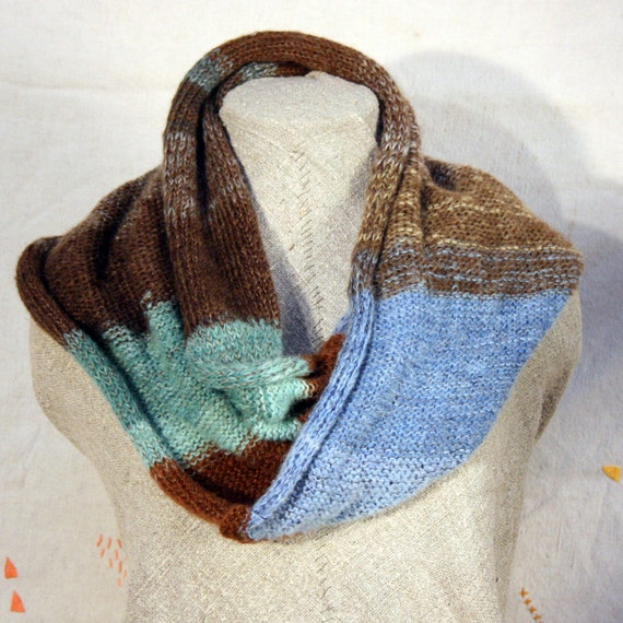 Beachcomber Wrap Infinity Shawl Cowl- driftwood and beach glass