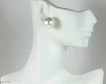 Huge Smooth Faux 15mm Gold Pearl Post Earrings, AC0683