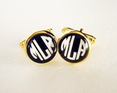 Art Deco Monogram Custom Cuff links in Gold Setting - 3 Vintage Initials in Black and Ivory for Gatsby Graduate Groom or Father's Day