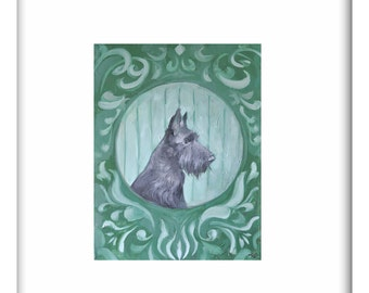 Scottish Terrier Portrait Print of Original Oil Painting in Black and Green