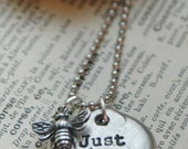 Hand Stamped Pebble Necklace With Sterling Honey Bee Charm - By Inspired Jewelry Designs
