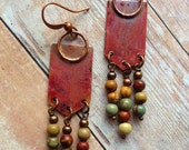 Boho Jewelry, Unique Earrings, Boho Copper Earrings with Colorful Natural Stones