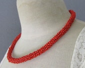 STOREWIDE CLEAROUT SALE hand beaded coral red thick round vintage 70s necklace choker - one size