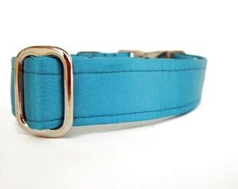 Satin Wedding Dog Collar - Turquoise