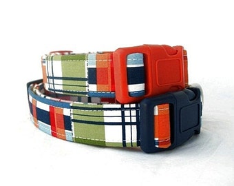 Nautical Plaid Dog Collar with Your Hardware Color Choice
