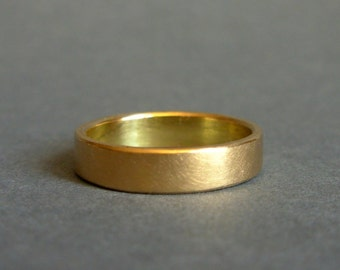 18K Gold Ring - 4mm Gold Wedding Band - Made To Order In Your Size - 18K Wedding Band For Men Or Women - Gold Men's Wedding Band - 18K Ring