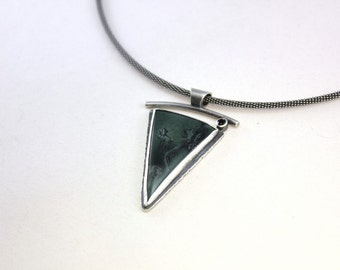 Ready to Ship - Green Black Magnetite Jade Balance Necklace - Sterling Silver OOAK, Anniversay Present, Unique Ying Yang Pendant