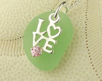 Love Necklace On GENUINE Sea Foam Sea Glass Jewelry