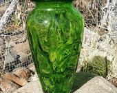 by Margies Garden Tall Vase Green Studio Art Glass Hand Blown Free Form Vintage