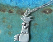 Cute rooster necklace in sterling silver -graduation gift- year of the rooster chinese horoscope