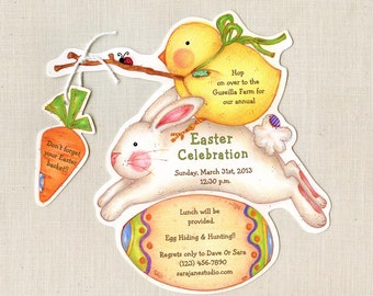 Personalized -Easter - Bunny - Chick - Invitations - Birthday - Party - Easter Bunny -  Chick - Egg Hunt - Sara Jane - Printed - Set of 10