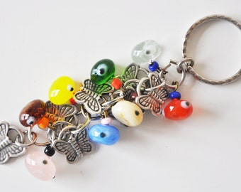 Butterfly Key Chain Handmade Colorful Evil Eye Silver Plated