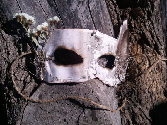 Natural Birch Bark Mask with White Flowers, Feathers, and Spanish Moss