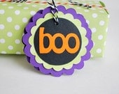 ON SALE 4 Halloween BOO tags, Halloween Treat Bag Tags, Trick or Treat Labels  A690