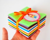 "Mini Felt Stack - 4"" EcoFriendly 24 Mini Felt sheet in Squares -12 different colors, Great Crafters Gift - The Perfect Christmas Gift A731"