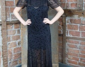 1930s Black Gown Dress - Flocked Sheer Gown-Large- Goth Wedding
