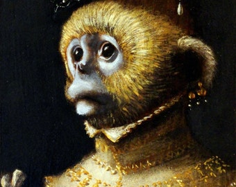 "Monkey art - ""Adelaide""- 5x7 print"