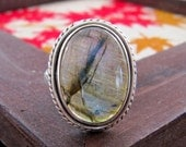An Oval Labradorite Sterling Silver Ring