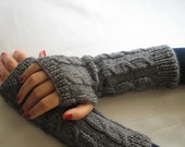 Gray Long Hand Knitted Cable Pattern Fingerless Gloves