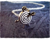 Silver Archery Target Necklace - Sterling Silver Archery Target Charm on a Delicate 18 Inch Sterling Silver Cable Chain