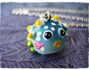 Rainbow Pufferfish Necklace - Rainbow Resin Pufferfish Charm on a Delicate Silver Plated Cable Chain or Charm Only