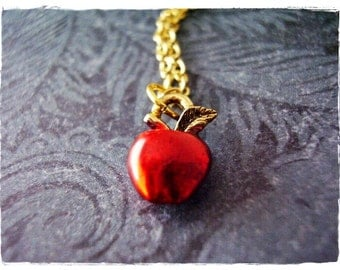 Tiny Red Apple Necklace - Red Enameled Antique Gold Pewter Apple Charm on a Delicate Gold Plated Cable Chain or Charm Only