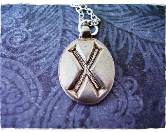 Silver Gyfu Rune Necklace - Silver Pewter Gyfu Rune Charm on a Delicate Silver Plated Cable Chain or Charm Only