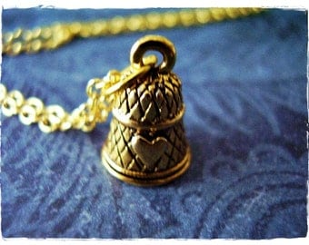 Gold Thimble Necklace - Antique Gold Pewter Thimble Charm on a Delicate Gold Plated Cable Chain or Charm Only
